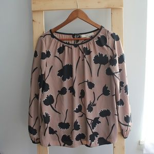 LOFT Brown Floral Blouse with Black Trim Detail